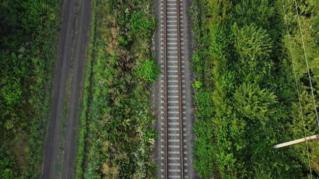 Szyny przez las i pola. droga gruntowa, przyroda wokół torów kolejowych.
