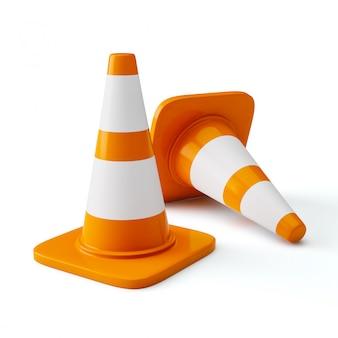 Szyszki budowy ruchu autostrady pomarańczowy