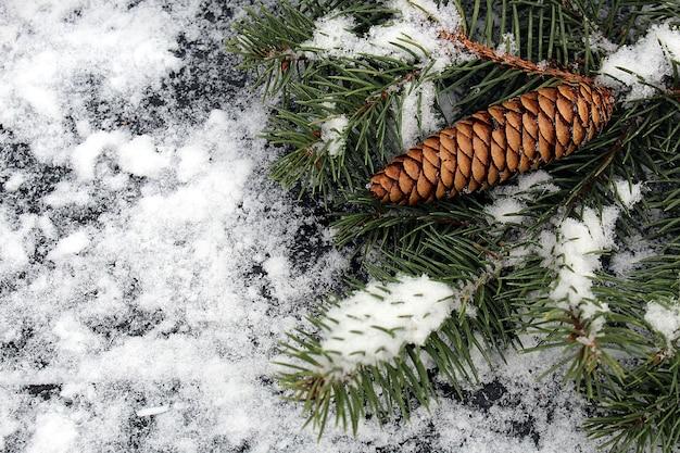 Szyszki jodły i gałęzie na tle drewnianych ze świeżym białym śniegiem