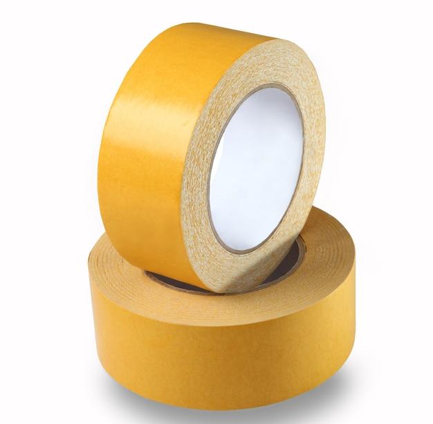 Ta szeroka, żółta, dwustronna taśma.
