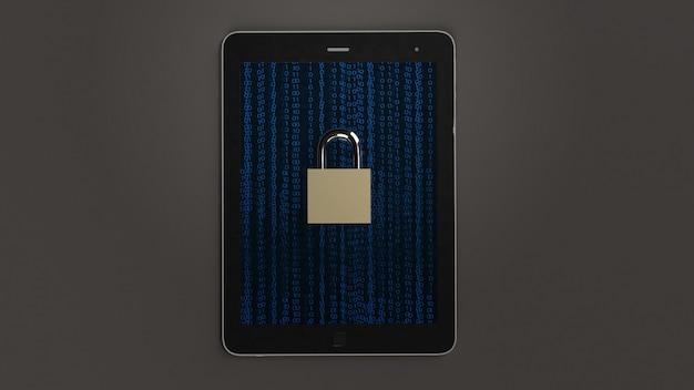Tabela i rendering główny klucz 3d dla technologii bezpieczeństwa.