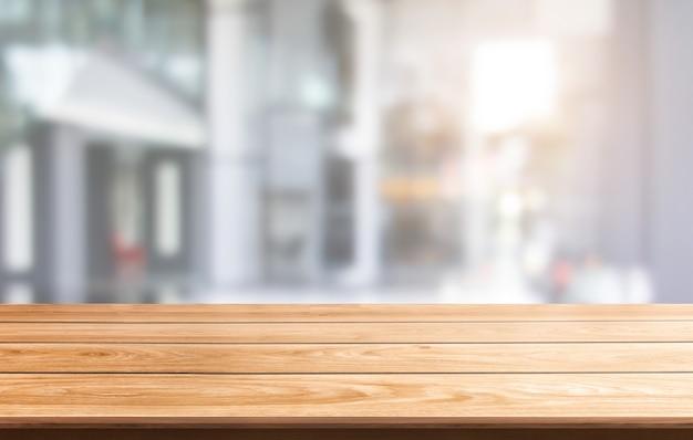 Tabela w tle miasta nowoczesne biuro z pustym miejscem na kopię na stole do wyświetlania produktów