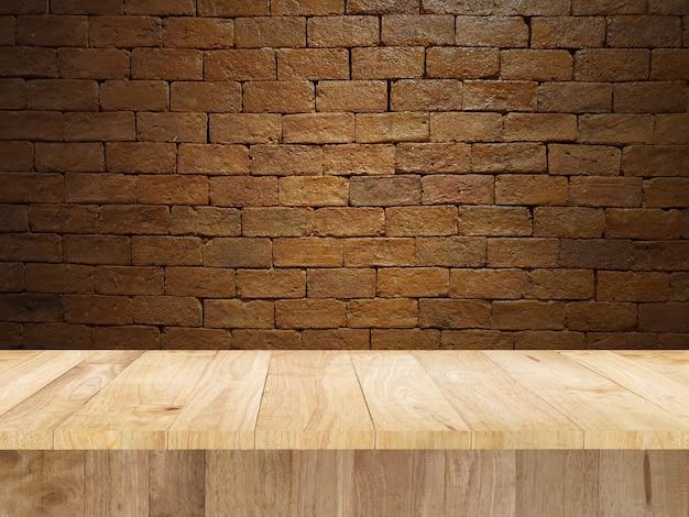 Tabela wyświetlania produktu i ściany z cegły
