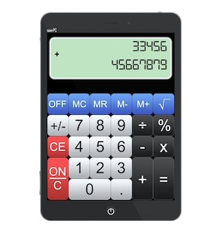 Tablet pc jako kalkulator na białym tle
