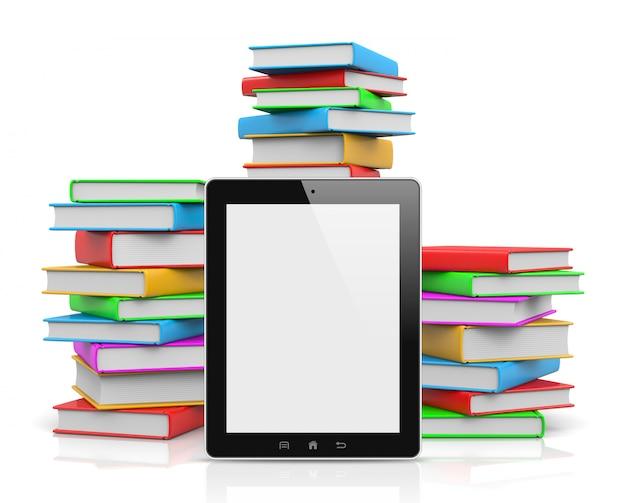 Tablet pc przed stosem książek
