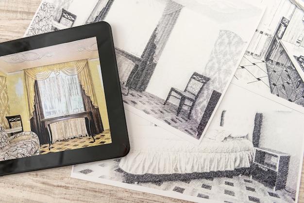 Tablet pokazujący plany sypialni w gotowym pokoju. nowoczesne mieszkanie. rysunek techniczny. projekt wnętrz domu, szkic