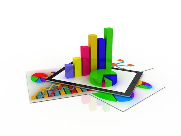 Tablet przedstawiający arkusz kalkulacyjny i papier z wykresami statystycznymi, otoczony niektórymi wykresami 3d
