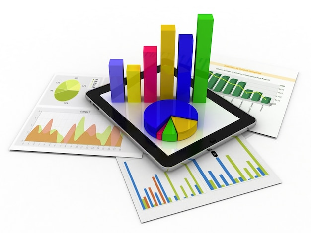 Tablet przedstawiający arkusz kalkulacyjny i papier z wykresami statystycznymi
