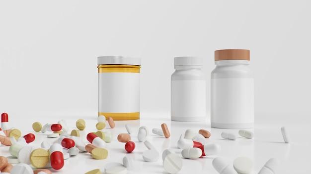 Tabletki, kapsułki na białym tle