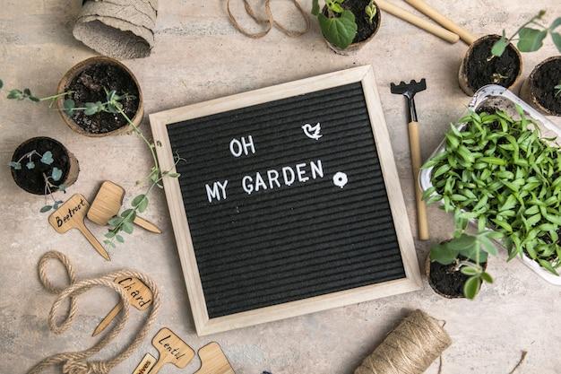 Tablica na listy z tekstem o mój ogródek