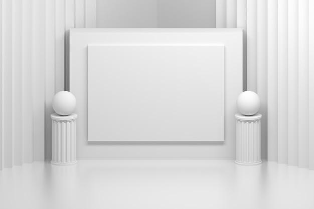 Tablica prezentacyjna w białym pokoju z filarami