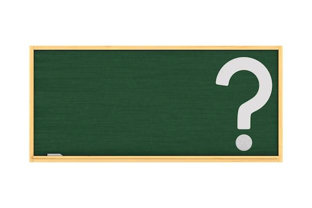 Tablica szkolna i pytanie na białym tle. izolowana ilustracja 3d