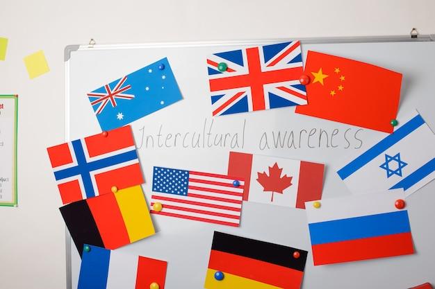 Tablica z różnymi flagami krajów i napisem świadomość międzykulturowa na środku