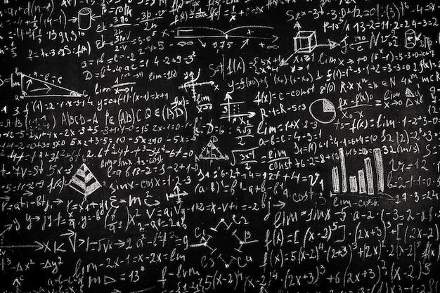 Tablica z wzorami naukowymi i obliczeniami z fizyki i matematyki, obraz w tle