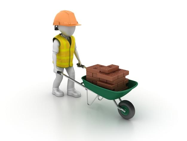 Taczka z cartton workder i bricks