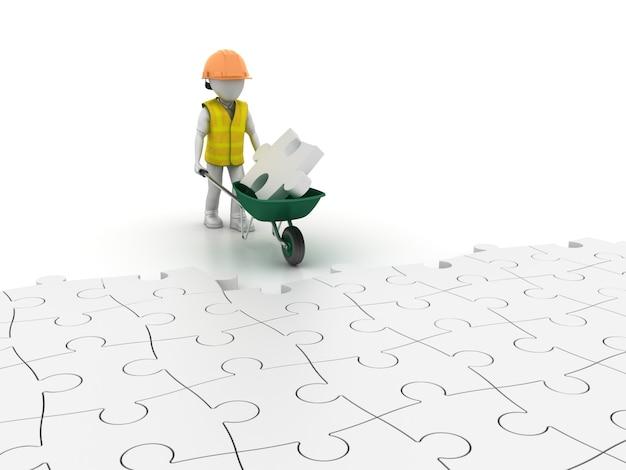 Taczki z pracownikiem kreskówki na podłodze puzzle
