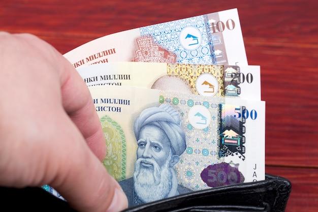 Tadżykistańskie somoni z pieniędzmi w portfelu
