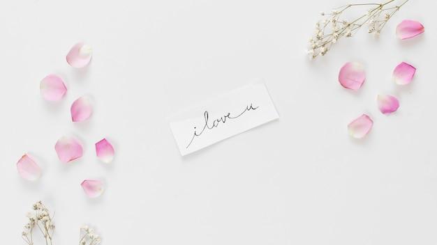 Tag z tytułem pomiędzy kolekcją świeżych płatków róży i gałązek roślin