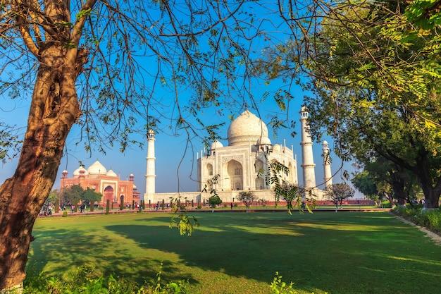 Taj mahal, widok na ogród w agrze, uttar pradesh, indie.