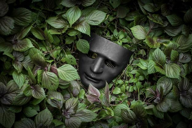 Tajemnicza maska na trawie