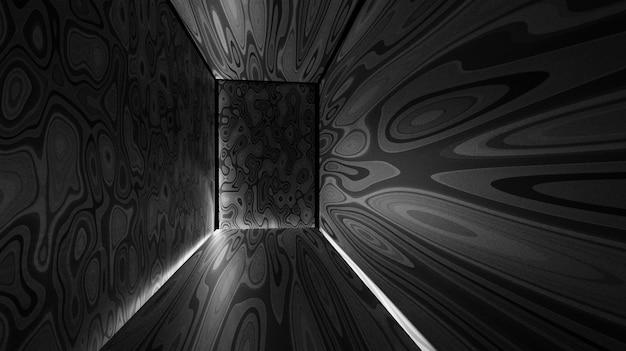 Tajemnicze renderingi 3d korytarza, ilustracje abstrakcyjne