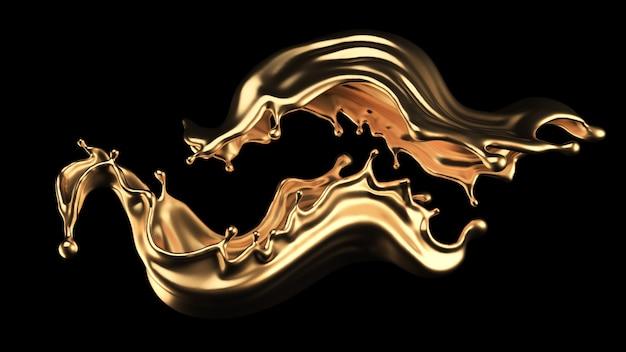 Tajemniczy, mistyczny, luksusowy plusk złota. ilustracja, renderowanie 3d.