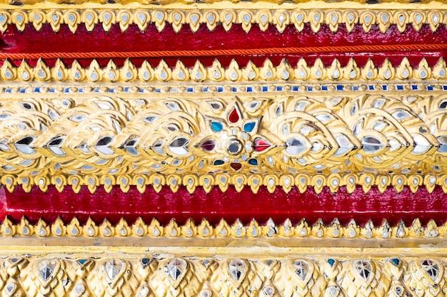 Tajlandzka deseniowa sztuki ściana, tekstury tło