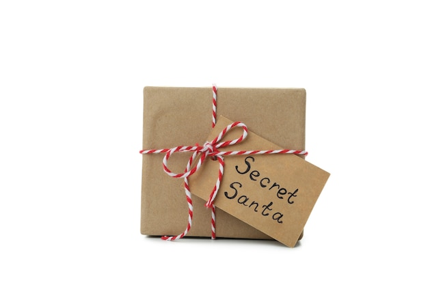 Tajny prezent santa na białym tle.