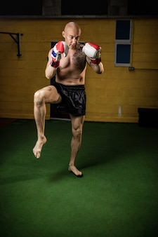Tajski bokser uprawiający boks