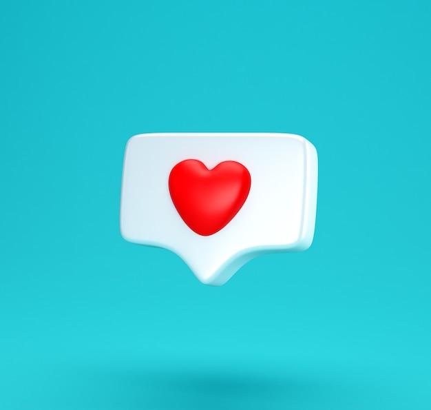 Takie jak powiadomienie w mediach społecznościowych z ikoną serca. minimalne pojęcie koncepcja miłości mediów społecznościowych renderowania 3d