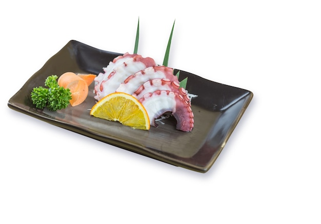 Tako sashimi menu na białym tle