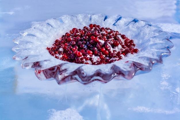 Talerz lodu z żurawiną posypany śniegiem. czerwone jagody na pokrojonych w lodzie potrawach. rosyjski, syberyjski zwyczaj spotykania się z gośćmi nad bajkałem. poziomy.
