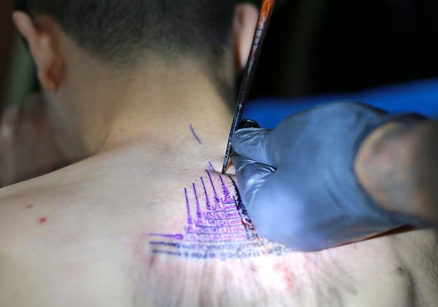 Talizman dziewięć najlepszych yantra do ochrony ludzi przed wszelką bronią, proces tatuażu w stylu tajskim.