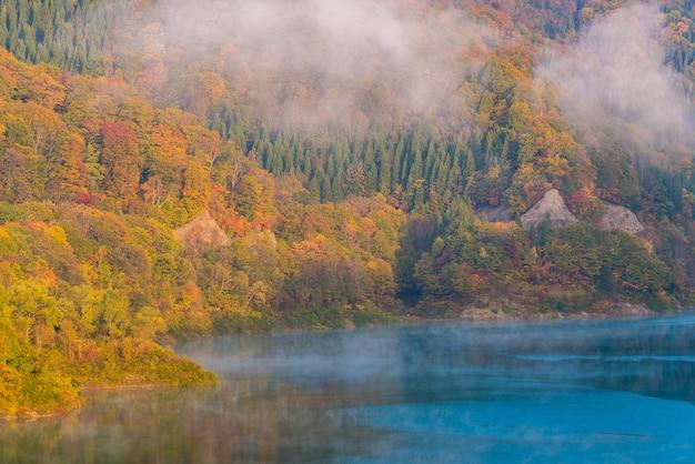 Tamagawa dam autumn akita japan