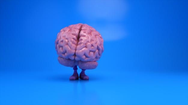 Tańczący mózg na kolorowym niebieskim tle. koncepcja sztucznej inteligencji. animacja 3d płynnej pętli