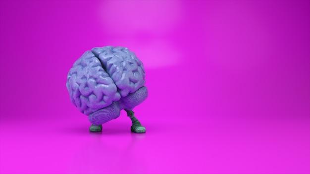 Tańczący mózg na kolorowym różowym tle. koncepcja sztucznej inteligencji. animacja 3d płynnej pętli
