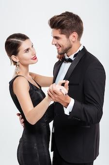 Taniec szczęśliwych ludzi biznesu. oko w oko