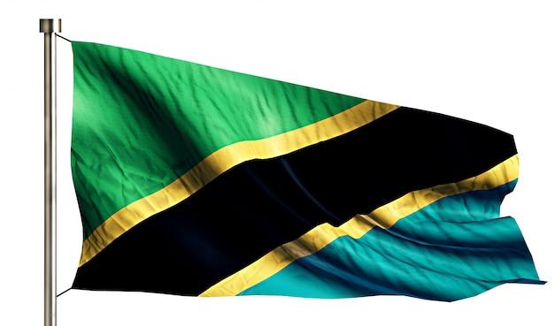 Tanzania flaga narodowa pojedyncze 3d białe tło