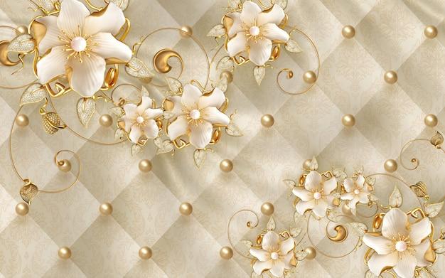 Tapeta 3d klasyczna przestrzeń wewnętrzna dekoracyjne złote kwiaty biżuteria złote skórzane tło