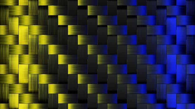 Tapeta abstrack świecąca żółtym i niebieskim kwadratem render