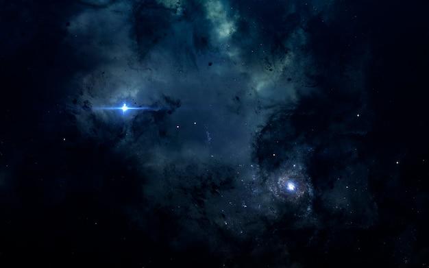 Tapeta kosmiczna science fiction, niesamowita mgławica gdzieś w ciemnej głębokiej przestrzeni kosmicznej.