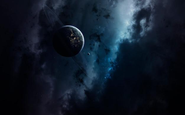 Tapeta kosmiczna science fiction, niewiarygodnie piękne planety, galaktyki, ciemne i zimne piękno nieskończonego wszechświata.