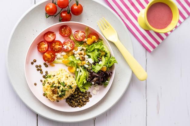 Tapeta tło zdrowej żywności dla dzieci