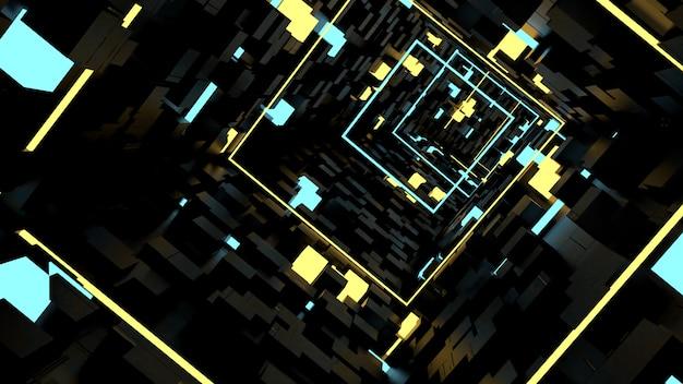 Tapeta w tunelu light innel running in box w scenie imprezowej w stylu retro i science fiction.