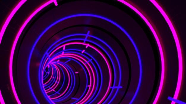 Tapeta w tunelu neon light circle tunnel w scenie imprezowej w stylu retro i modowym.