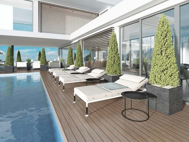 Taras przy basenie z leżakami w pobliżu nowoczesnego domu. renderowanie 3d