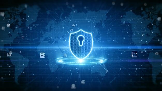 Tarcza ikona cyberbezpieczeństwa. ochrona cyfrowej sieci danych