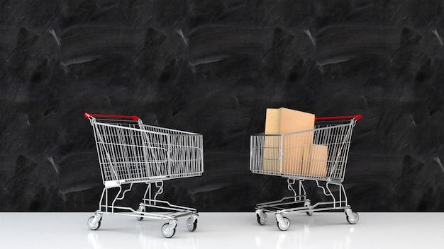 Targowy wózek na zakupy na ścianie w pokoju renderingu 3d