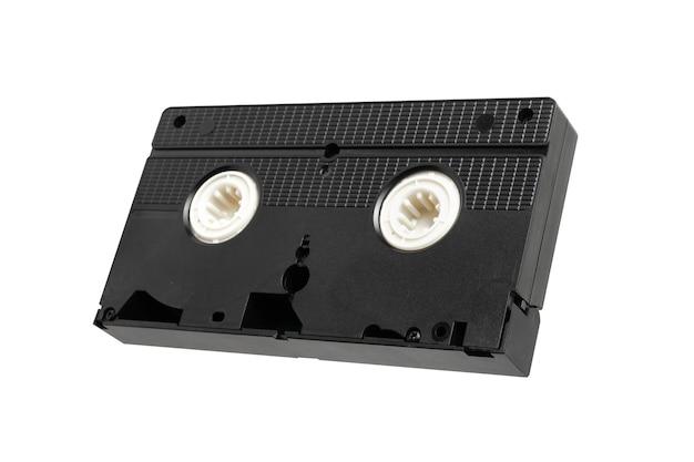Taśma wideo vhs do oglądania filmów na białym tle, kaseta wideo.