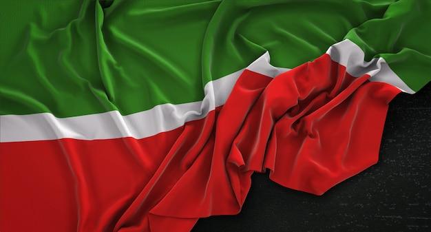 Tatarstan flaga zgnieciony na ciemnym tle renderowania 3d